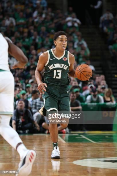 Malcolm Brogdon of the Milwaukee Bucks handles the ball against the Boston Celtics on October 18 2017 at the TD Garden in Boston Massachusetts NOTE...