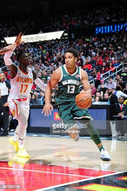 Malcolm Brogdon of the Milwaukee Bucks handles the ball against the Atlanta Hawks on October 29 2017 at Philips Arena in Atlanta Georgia NOTE TO USER...