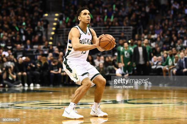 Malcolm Brogdon of the Milwaukee Bucks handles the ball against the Boston Celtics during game three of round one of the Eastern Conference playoffs...