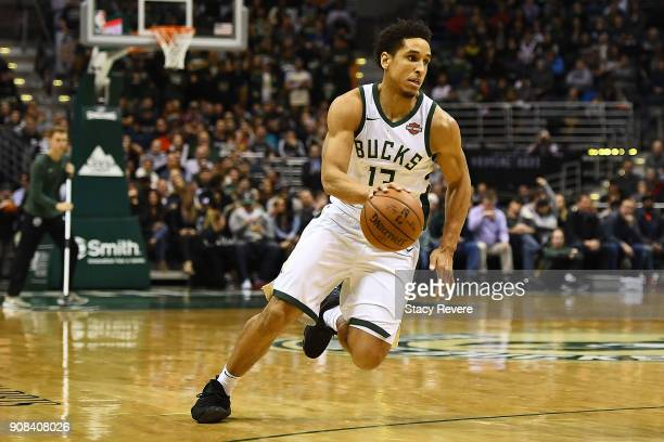Malcolm Brogdon of the Milwaukee Bucks handles the ball during a game against the Miami Heat at the Bradley Center on January 17 2018 in Milwaukee...