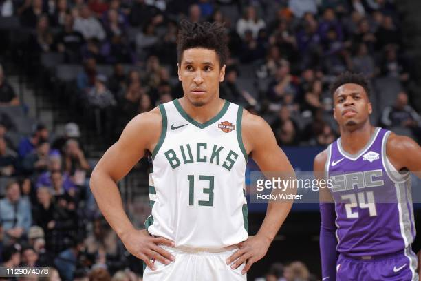 Malcolm Brogdon of the Milwaukee Bucks looks on during the game against the Sacramento Kings on February 27 2019 at Golden 1 Center in Sacramento...