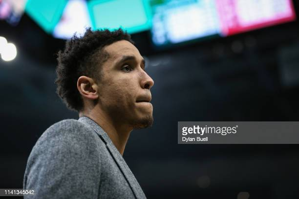 Malcolm Brogdon of the Milwaukee Bucks looks on in the second quarter against the Atlanta Hawks at the Fiserv Forum on April 07 2019 in Milwaukee...