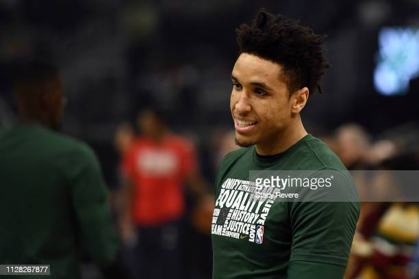 Malcolm Brogdon of the Milwaukee Bucks participates in warmups prior to a game against the Washington Wizards at Fiserv Forum on February 06 2019 in...