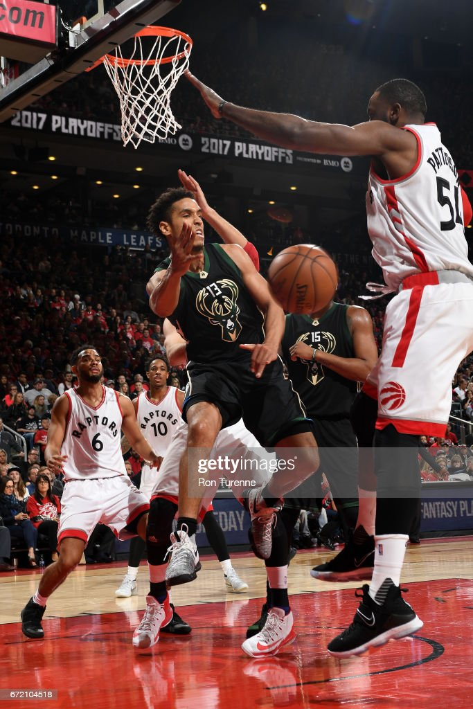 Malcolm Brogdon #13 of the Milwaukee Bucks passes the ball against the Toronto Raptors in Round One of the Eastern Conference Playoffs during the 2017 NBA Playoffs on April 15, 2017 at the Air Canada Centre in Toronto, Ontario, Canada.