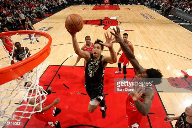 Malcolm Brogdon of the Milwaukee Bucks shoots the ball during the game against the Chicago Bulls on February 25 2019 at the United Center in Chicago...