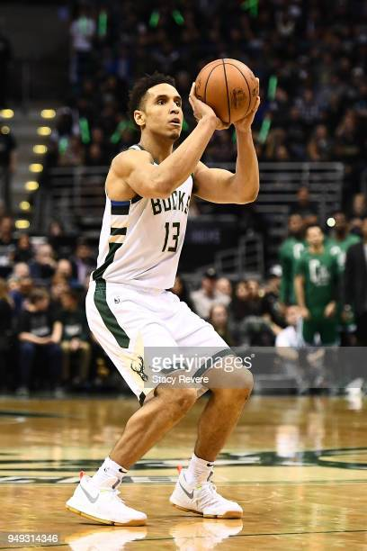 Malcolm Brogdon of the Milwaukee Bucks takes a three point shot against the Boston Celtics during the second half of game three of round one of the...