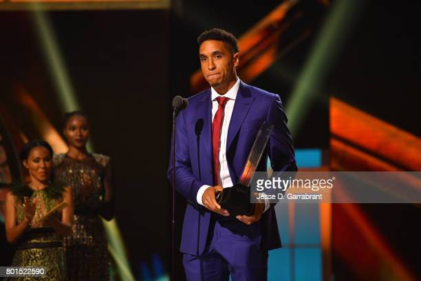 Malcolm Brogdon of the Milwaukee Bucks with the Rookie of the Year award during the 2017 NBA Awards Show on June 26 2017 at Basketball City in New...