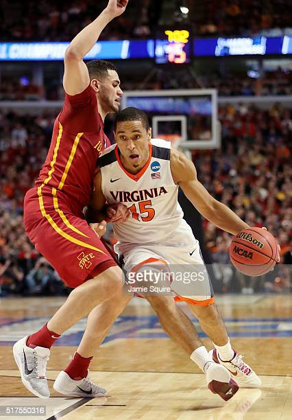 Malcolm Brogdon of the Virginia Cavaliers drives against the Iowa State Cyclones in the first half during the 2016 NCAA Men's Basketball Tournament...