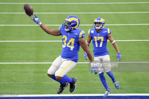 Malcolm Brown of the Los Angeles Rams celebrates a touchdown against the Seattle Seahawks in the second quarter at SoFi Stadium on November 15, 2020...