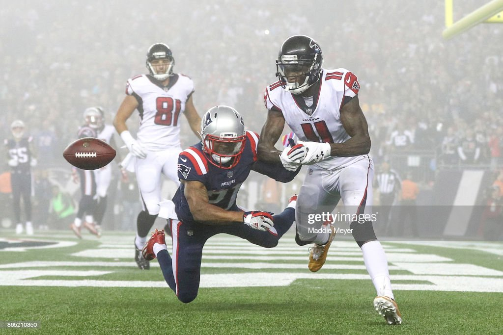 Malcolm Butler #21 of the New England Patriots breaks up a pass inteded for Julio Jones #11 of the Atlanta Falcons during the fourth quarter of a game at Gillette Stadium on October 22, 2017 in Foxboro, Massachusetts.