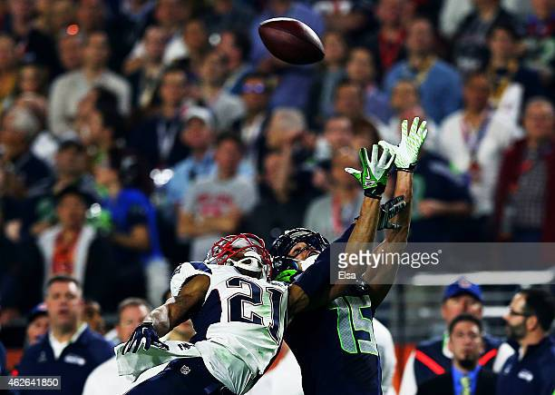 Malcolm Butler of the New England Patriots breaks up a pass to Jermaine Kearse of the Seattle Seahawks in the second half during Super Bowl XLIX at...