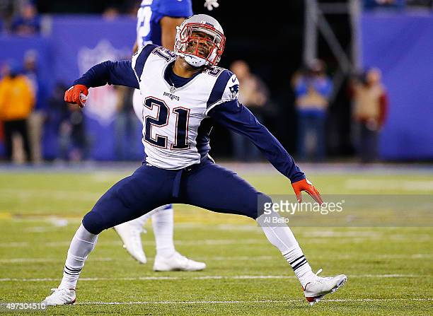Malcolm Butler of the New England Patriots reacts against the New York Giants during the third quarter at MetLife Stadium on November 15 2015 in East...