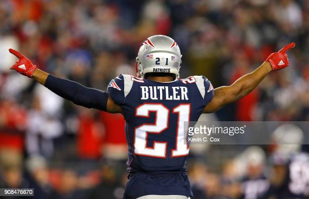 Malcolm Butler of the New England Patriots reacts in the fourth quarter during the AFC Championship Game against the Jacksonville Jaguars at Gillette...