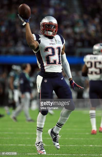 Malcolm Butler of the New England Patriots warms up prior to Super Bowl LII against the Philadelphia Eagles at US Bank Stadium on February 4 2018 in...