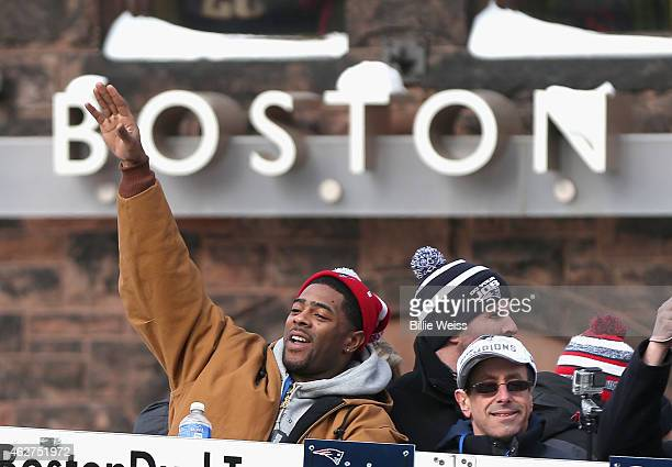 Malcolm Butler of the New England Patriots waves to fans during a Super Bowl victory parade on February 4 2015 in Boston Massachusetts The Patriots...