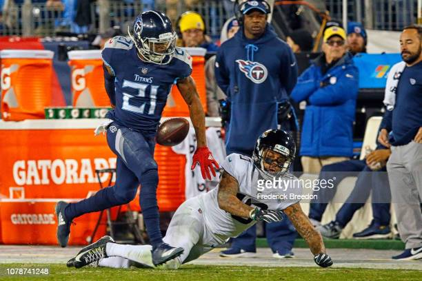 Malcolm Butler of the Tennessee Titans breaks up a pass to Donte Moncrief of the Jacksonville Jaguars at Nissan Stadium on December 6 2018 in...