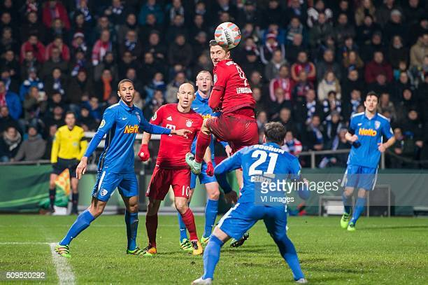 Malcolm Cacutalua of VFL Bochum Arjen Robben of Bayern Munich Robert Lewandowski of Bayern Munich Stefano Celozzi of VFL Bochum during the Bundesliga...