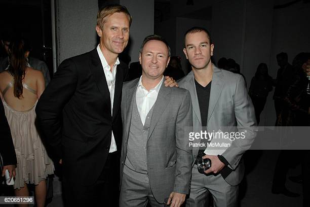 Malcolm Carfrae Kevin Carrigan and Josh Reed attend GQ/CFDA 'Best New Menswear Designers' Party at 620 Fifth Avenue on January 30 2008 in New York...