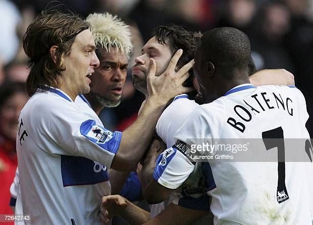 Malcolm Christie of Middlesbrough is congratulated on scoring the opening goal with Jonathan Woodgate during the Barclays Premiership match between...