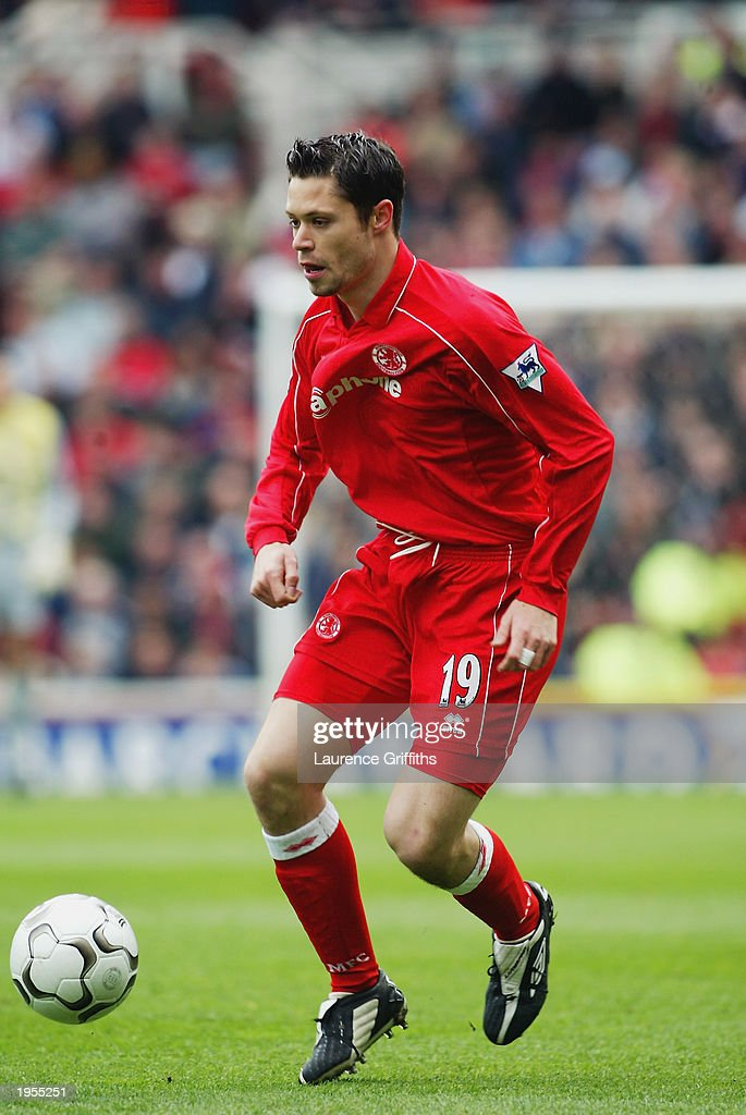 Malcolm Christie of Middlesbrough running with the ball during the FA Barclaycard Premiership match between Middlesbrough and Arsenal held on April 19, 2003 at The Riverside Stadium in Middlesbrough, England. Arsenal won the match 2-0.