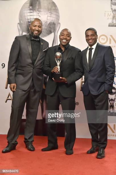Malcolm D Lee Will Packer and James Lopez attend the 49th NAACP Image Awards Press Room at Pasadena Civic Auditorium on January 15 2018 in Pasadena...