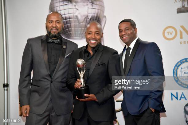 Malcolm D Lee Will Packer and James Lopez winners of the Outstanding Motion Picture award for 'Girls Trip' pose in the press room for the 49th NAACP...