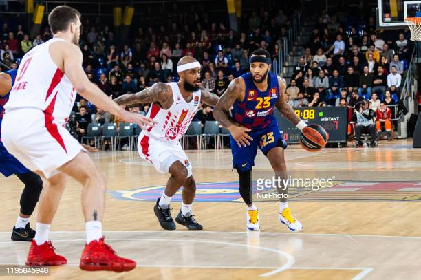 Malcolm Delaney and Lorenzo Brown during the match between FC Barcelona and Red Star Basketball Club, corresponding to the week 21 of the Euroleague,...