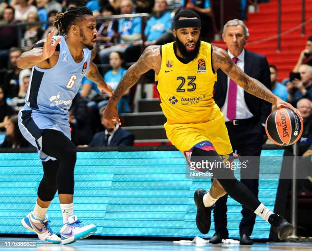 Malcolm Delaney of Barcelona and Andrew Albicy of Zenit St Petersburg in action during the 2019/2020 Turkish Airlines EuroLeague regular season...