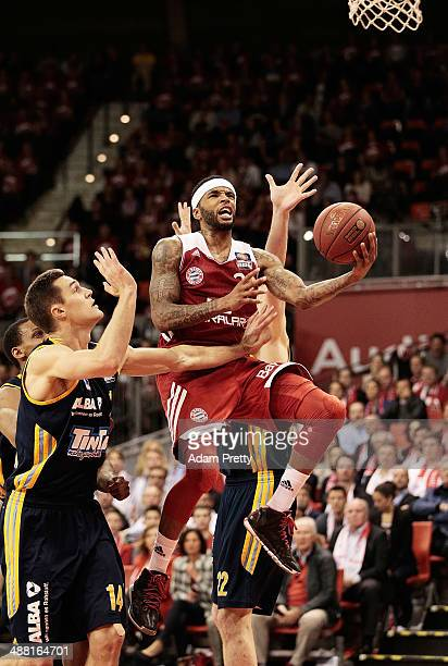 Malcolm Delaney of Bayern Muenchen goes for a shot during the basketball match between Bayern Muenchen and ALBA Berlin at AudiDome on May 4 2014 in...