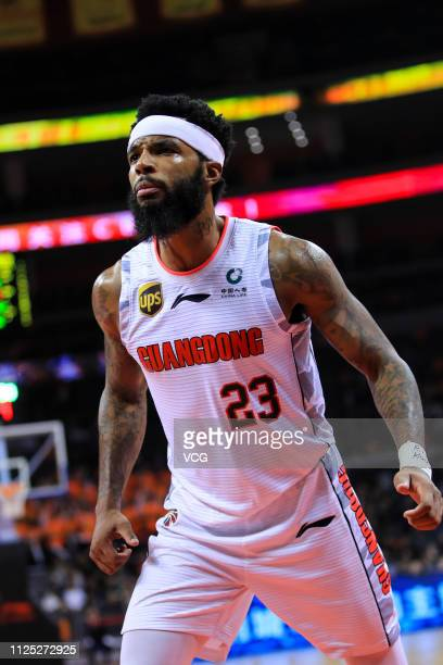 Malcolm Delaney of Guangdong Hongyuan Southern Tigers reacts during the 2018/2019 Chinese Basketball Association League 36th round match between...