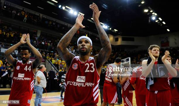 Malcolm Delaney of Muenchen celebrates after the Beko BBL Playoffs semifinal match between MHP RIESEN Ludwigsburg and FC Bayern Muenchen on May 18...