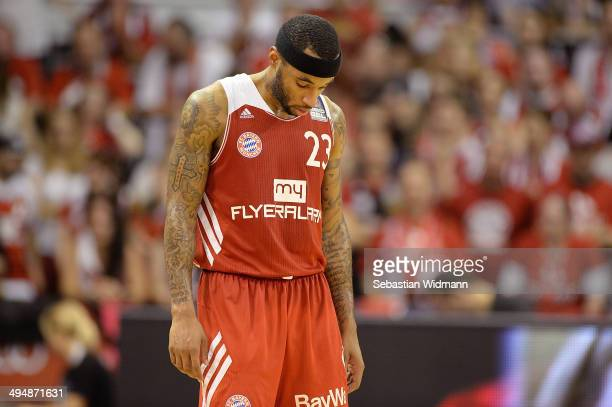 Malcolm Delaney of Munich looks down during game three of the 2014 Beko BBL Playoffs SemiFinal between FC Bayern Muenchen and EWE Baskets Oldenburg...