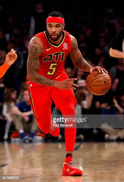 Malcolm Delaney of the Atlanta Hawks drives in an NBA basketball game against the New York Knicks on February 4 2018 at Madison Square Garden Center...