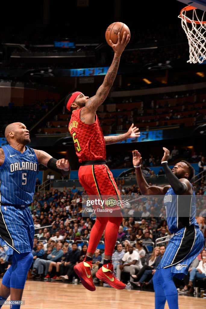 Malcolm Delaney #5 of the Atlanta Hawks goes to the basket against the Orlando Magic on February 8, 2018 at the Amway Center in Orlando, Florida.