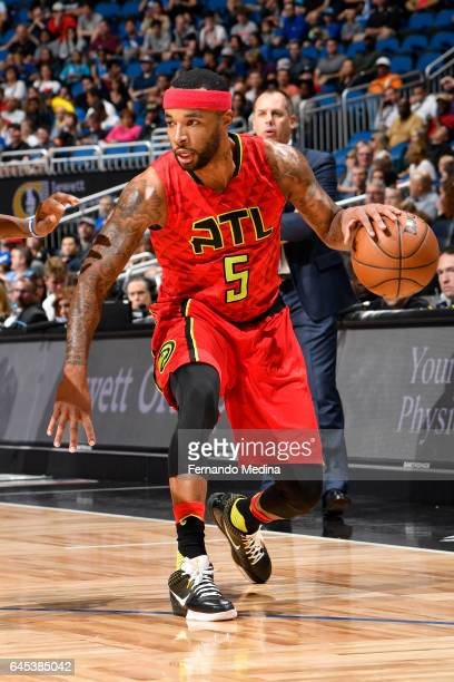 Malcolm Delaney of the Atlanta Hawks handles the ball against the Orlando Magic on February 25 2017 at Amway Center in Orlando Florida NOTE TO USER...