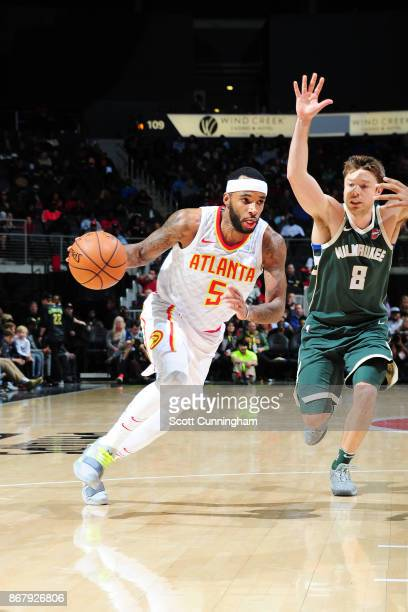 Malcolm Delaney of the Atlanta Hawks handles the ball against the Milwaukee Bucks on October 29 2017 at Philips Arena in Atlanta Georgia NOTE TO USER...