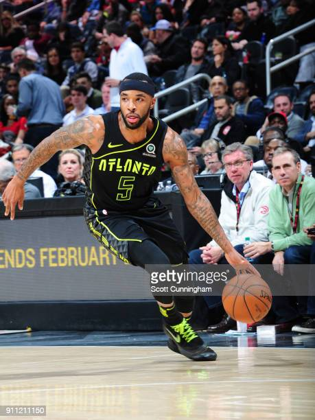 Malcolm Delaney of the Atlanta Hawks handles the ball against the Washington Wizards on January 27 2018 at Philips Arena in Atlanta Georgia NOTE TO...