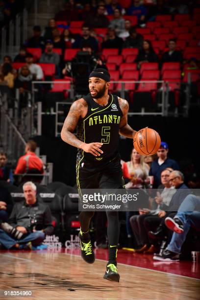 Malcolm Delaney of the Atlanta Hawks handles the ball against the Detroit Pistons on February 14 2018 at Little Caesars Arena in Detroit Michigan...