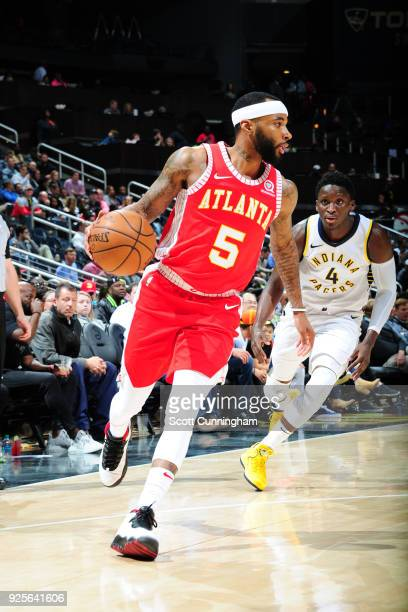 Malcolm Delaney of the Atlanta Hawks handles the ball against the Indiana Pacers on February 28 2018 at Philips Arena in Atlanta Georgia NOTE TO USER...