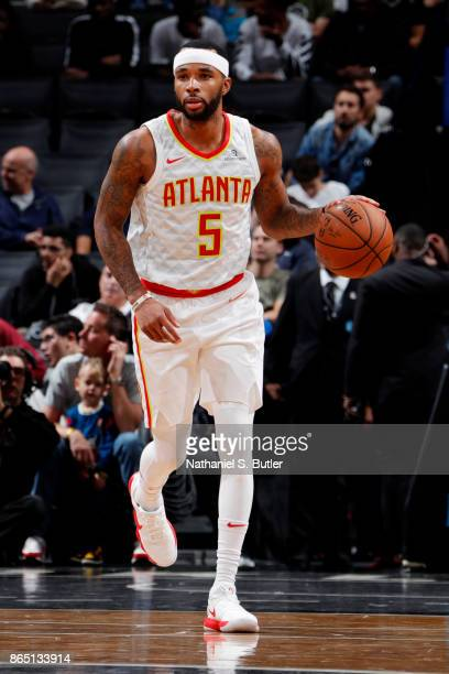 Malcolm Delaney of the Atlanta Hawks handles the ball during the game against the Brooklyn Nets on October 22 2017 at Barclays Center in Brooklyn New...