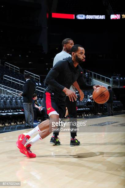 Malcolm Delaney of the Atlanta Hawks handles the ball during warmups before the game against the Sacramento Kings on November 15 2017 at Philips...