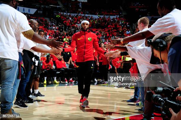 Malcolm Delaney of the Atlanta Hawks is introduced prior to the game against the Denver Nuggets on October 27 2017 at Philips Arena in Atlanta...