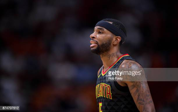 Malcolm Delaney of the Atlanta Hawks looks on during the game against the Miami Heat at the American Airlines Arena on October 23 2017 in Miami...