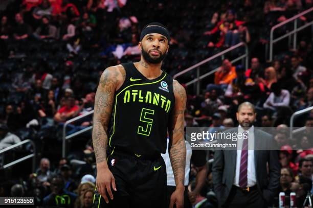 Malcolm Delaney of the Atlanta Hawks looks on during the game against the Memphis Grizzlies on February 6 2018 at Philips Arena in Atlanta Georgia...