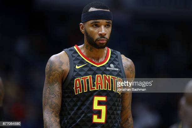 Malcolm Delaney of the Atlanta Hawks reacts during the first half of a game against the New Orleans Pelicans at the Smoothie King Center on November...