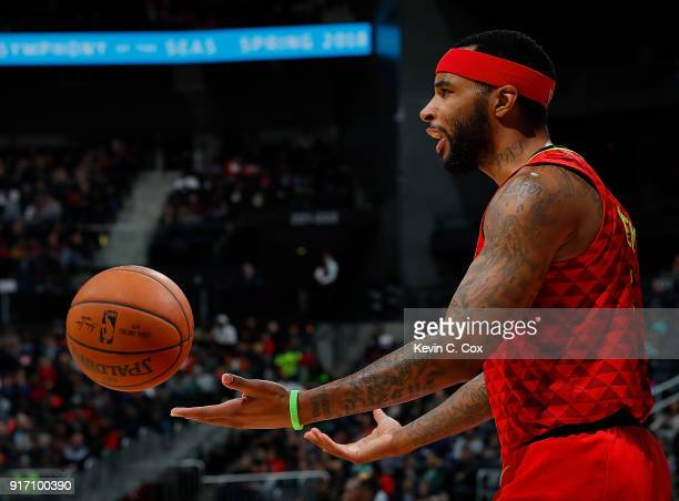 Malcolm Delaney of the Atlanta Hawks reacts during the game against the Detroit Pistons at Philips Arena on February 11 2018 in Atlanta Georgia NOTE...