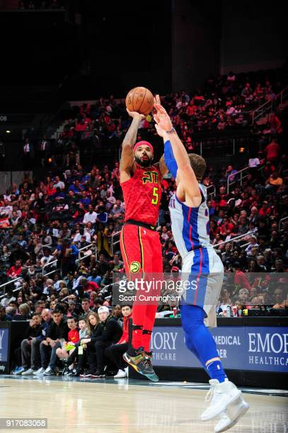 Malcolm Delaney of the Atlanta Hawks shoots the ball against the Detroit Pistons on February 11 2018 at Philips Arena in Atlanta Georgia NOTE TO USER...