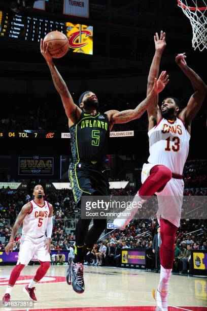Malcolm Delaney of the Atlanta Hawks shoots the ball against Tristan Thompson of the Cleveland Cavaliers during the game between the two teams on...