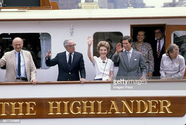 Malcolm Forbes hosts Prince Charles and First Lady Nancy Reagan on his yacht The Highlander circa 1981 in New York City