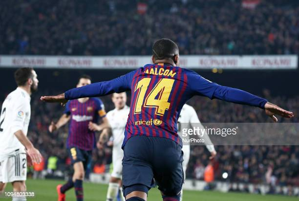Malcolm goal celebration during the match between FC Barcelona and Real Madrid corresponding to the first leg of the 1/2 final of the spanish cup...